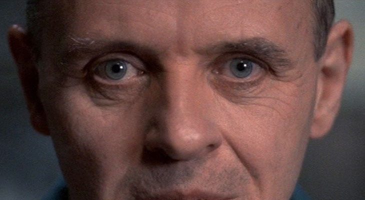 Anthony Hopkins as Hannibal Lecter in The Silence of the Lambs