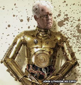 John Lithgow in fancy dress as C3PO