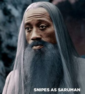 Wesley Snipes in fancy dress as Saruman