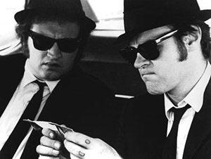The Blues Brothers in the Bluesmobile