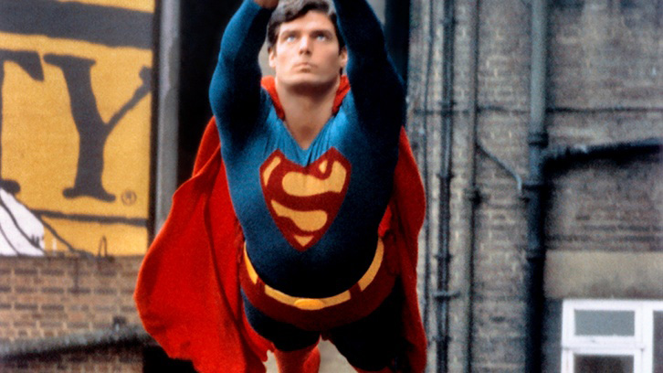 Chris Reeve as Superman taking flight